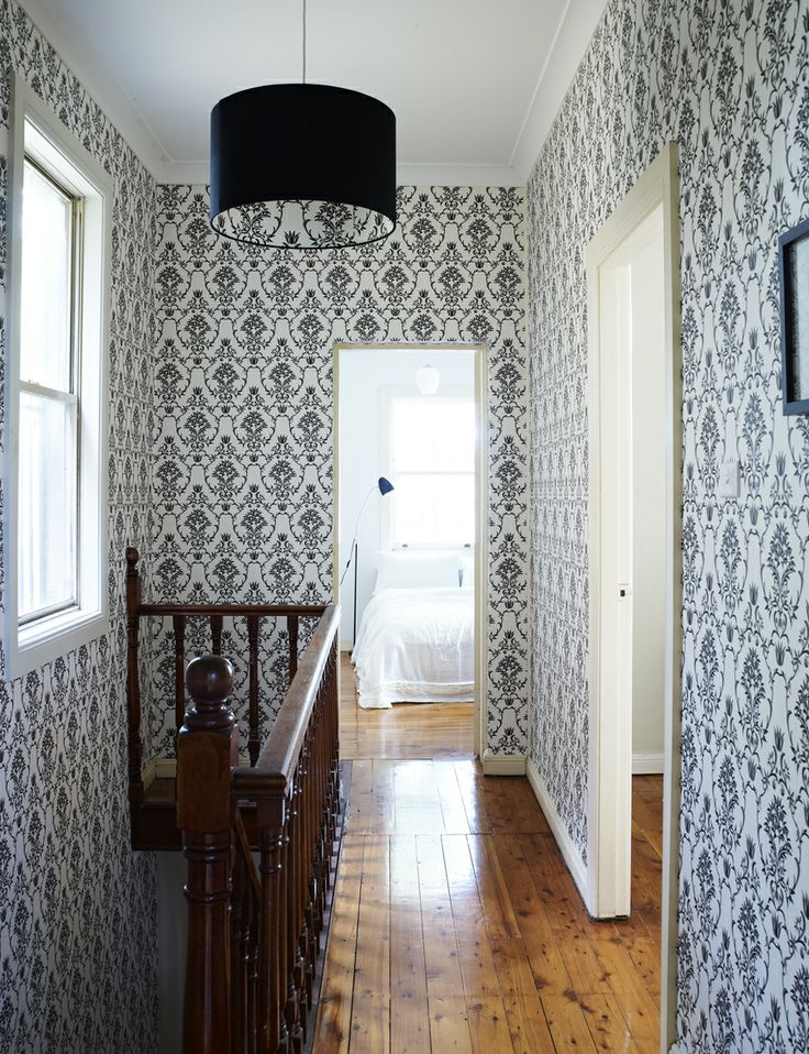 My hallway at home ... the Flannel Flower Damask paper in Black on White www.moorewallpaper.com.au