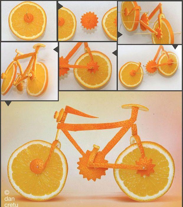 Photo : Un vélo réalisé avec des citrons et des oranges/ ©Dan Cretu