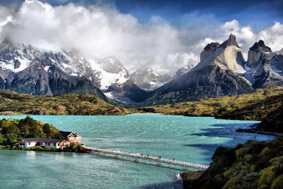 lake pehoe. torres del paine , chile