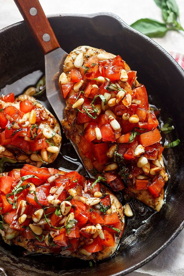 Skinny Bruschetta Chicken-a winner for a weeknight dinner for two. Not only it is quick to make, but it is also delicious!