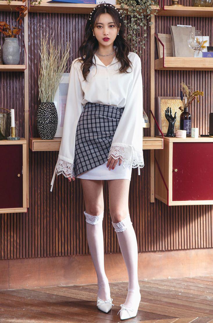 Check Overlay Pencil Skirt CHLO.D.MANON   #check #skirt #unique #koreanfashion #kstyle #kfashion #springlook #seoul