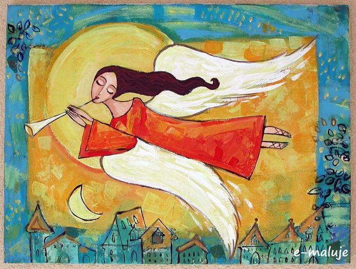 Anioł Brzemienny - Anioły - e-maluje  Anioły na drewnie recznie malowane...hand made... Angel Angels Aniołek Anioł Stróż pamiątka chrztu Aniołek Stróż obraz ikona prezent na ślub, komunię , chrzest, urodziny, podziękowanie, WYJATKOWE MALARSTWO, KOLOROWY ŚWIAT PEŁEN DOBREJ ENERGII...