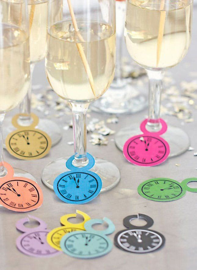 The clock is ticking to midnight, so remind your guests of that with these glass tags as well as other New Year's Eve Party DIYs.