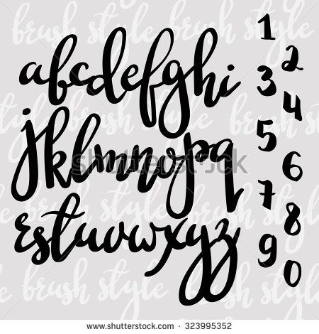 Handwritten brush pen modern calligraphy font. Stylish letters and figures hand made with brush. Calligraphy alphabet. Isolated letters. For postcard poster decorative graphic design.