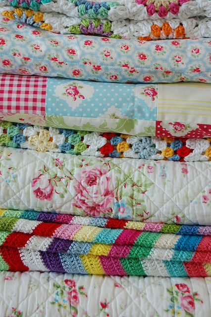 pile of blankets by whereyourheartis on Flickr.: Linens Cupboards, Crochet Blankets, Crochet Afghans, Old Quilts, Bedrooms Design, Design Bedrooms, Vintage Linens, Bedrooms Decor, Linens Closet