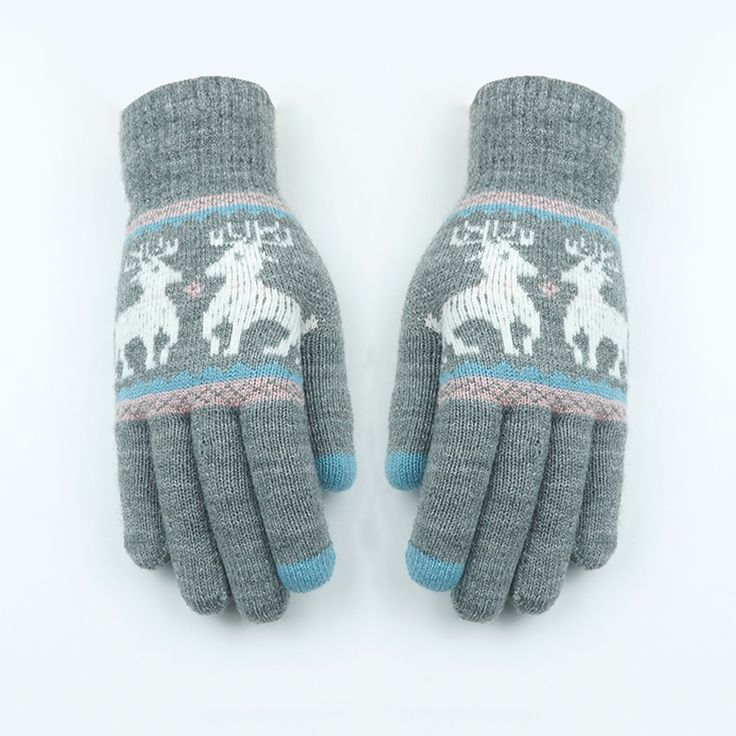 New Korean Fashion Knitted Finger Gloves  Winter Touch Screen Warm Thicken Wool Cute Fawn Cartoon Gloves Multi Color Optional