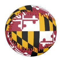Patriotic baseball with flag of Maryland, USA