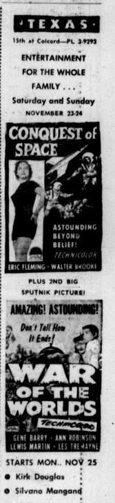 """Conquest of Space"" and ""War Of The Worlds"" The Waco Citizen (Waco, Tex.), November 21, 1957"
