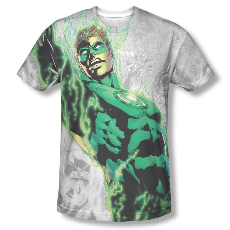 Green Lantern Light Them Up Power Surge Photo Sublimation Front Only T-shirt Top Mens Sizes: S, M, L, XL, 2XL