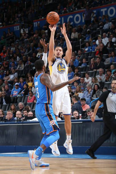 Klay Thompson of the Golden State Warriors shoots the ball against the Oklahoma City Thunder on November 22 2017 at Chesapeake Energy Arena in...