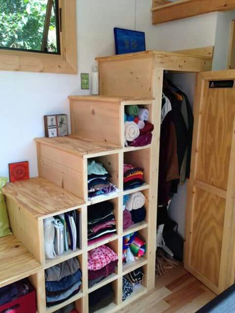 Tiny house stairs and storage