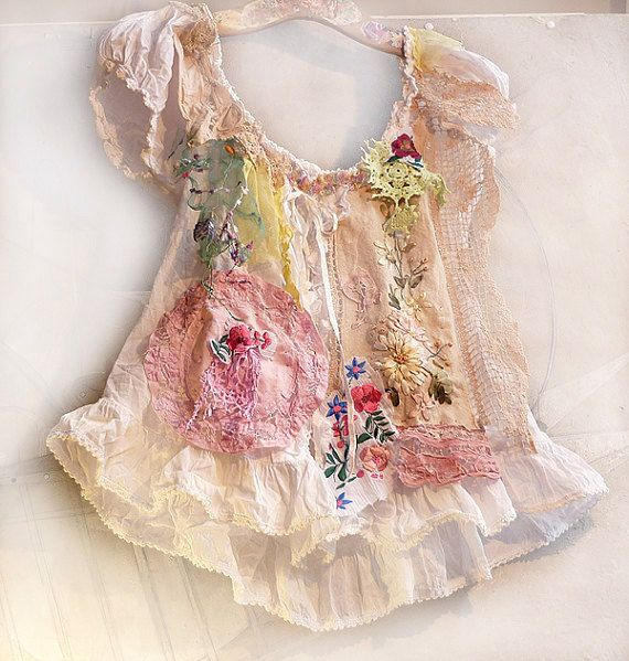 WHITE Cotton Blouse HIPPI BOHOFolk Country Rustic  by Paulina722
