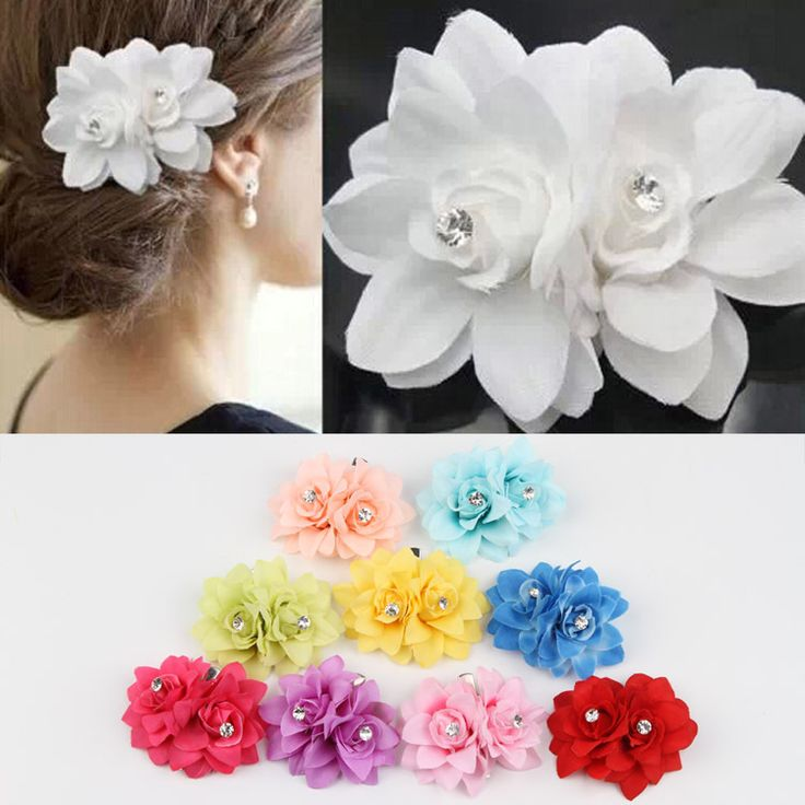 Wholesale 10 Colors Flower Clip Hairpin For Bridal Wedding Prom Party Gift For Girls Chic Hair Accessories