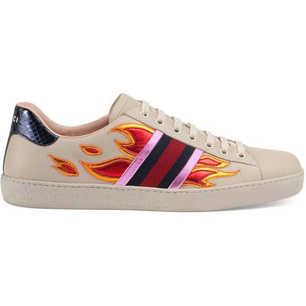 Gucci Ace Low-Top Sneaker With Flames ($605) ❤ liked on Polyvore featuring men's fashion, men's shoes, men's sneakers, sneakers, shoes, gucci, tenis, men, mens low profile shoes and mens metallic shoes