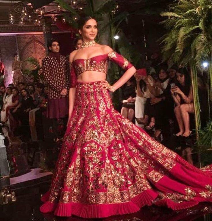 Deepika Padukone # Manish Malhotra bride # hand crafted fusion lehenga #
