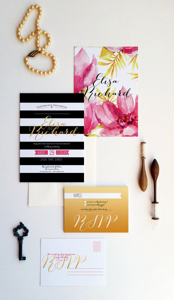 Gold wedding invitations  Gold Modern wedding by DesignedWithAmore
