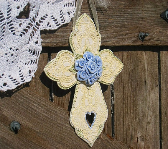 Graceful Shabby Blue Rose Cross Wall Art / Rose by TexasAngelGifts, $34.00