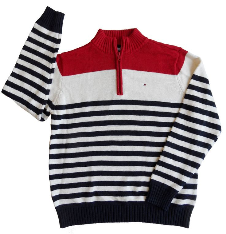 new $49 TOMMY HILFIGER boys RED NAVY STRIPE SWEATER nwt M 12/14 L 16 / 18 XL 20 #TommyHilfiger #Pullover #DressyHoliday