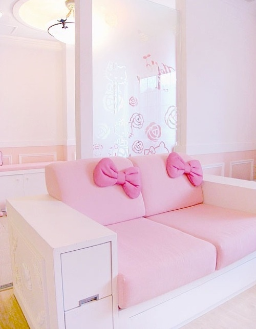 this simple loveseat would be an adorable addition to a Hello Kitty room.I  like the idea of embracing a child's passion for a character without  plastering ...
