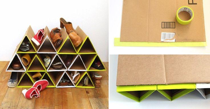 Reutiliza cartón de manera inteligente con este práctico organizador de zapatos