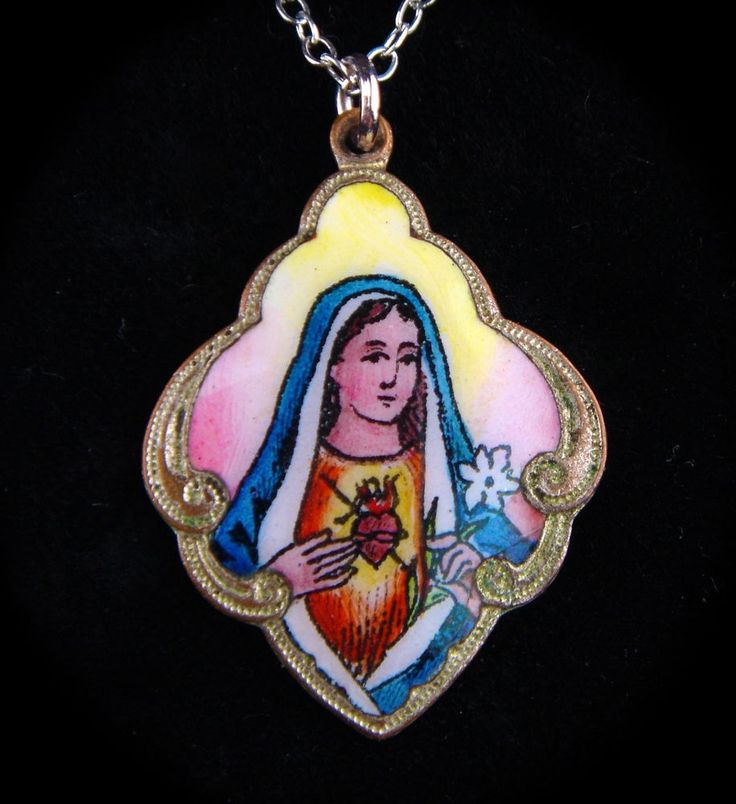 RARE Antique Vintage Christian Pendant Miniature Virgin Mary Sacred Heart Enamel