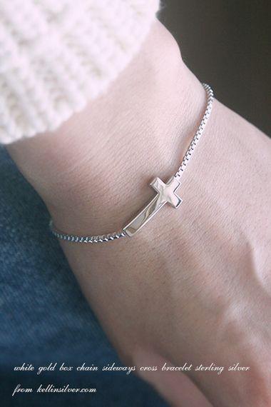 White Gold Box Chain Sideways Cross Bracelet Sterling Silver from kellinsilver.com