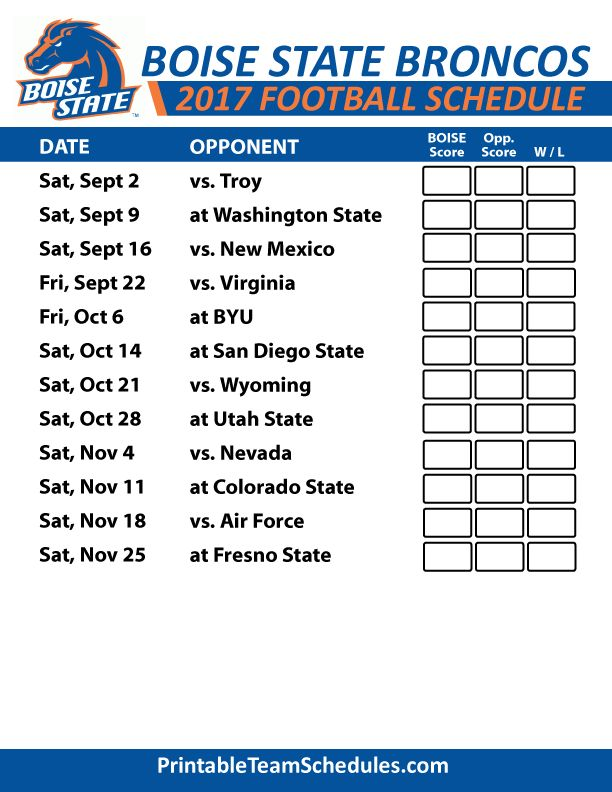 2017 Boise State Broncos Football Schedule