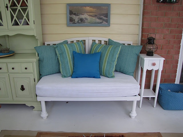 Crib bench. Doing this with the kids cribs. Was goin to toss it but what a great sentimental way to restore it.