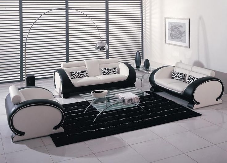 Vig Furniture   2811 Black And White Bonded Leather Sofa Set