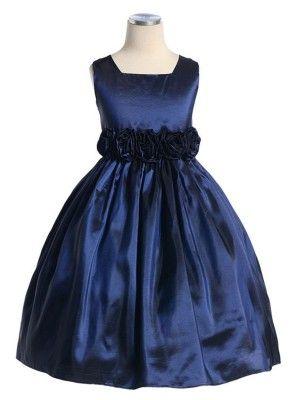Navy Sleeveless Taffeta Flower Girl Dress (Sizes Infants-12 in 13 Colors)