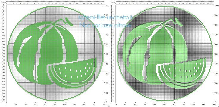 Centrino rotondo filet uncinetto con frutta dell'estate angurie schema 100 x 100 quadretti