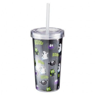 Halloween Plastic Drinking Cup With Lid & Straw - Halloween Party Decorations - Halloween