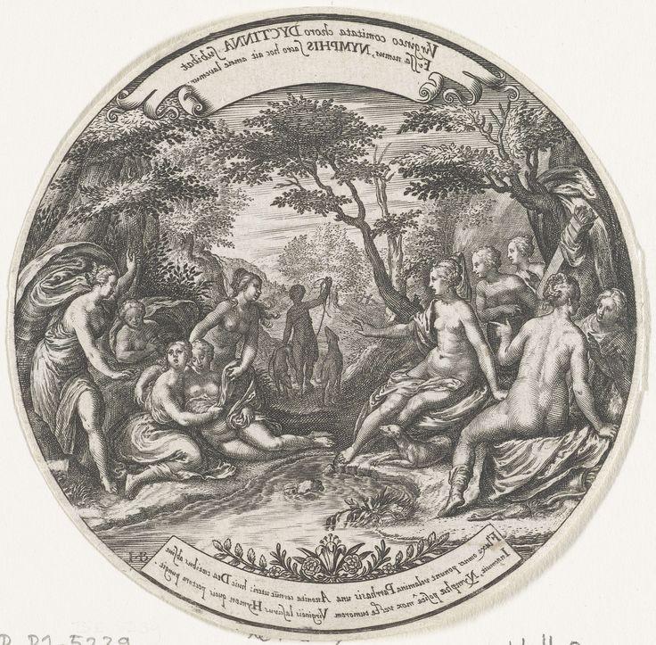 Johann Theodor de Bry   Diana ontdekt de zwangerschap van Callisto, Johann Theodor de Bry, Jan Saenredam, Paulus Moreelse, after 1606 - before 1621   Diana en haar nimfen zitten aan een beekje tussen bomen. De zwangere Callisto wordt aan Diana getoond. Een van de andere nimfen trekt haar jurk opzij. Diana kijkt gechoqueerd naar haar zwangere dienares. In het midden op de achtergrond loopt een nimf met twee honden.