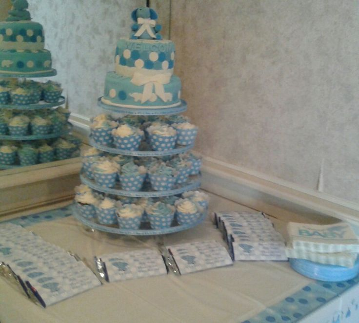 Baby Boy Elephant Cake Tower with personalized candy bar favors by Jamie