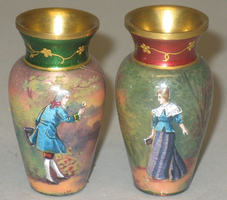 Miniature Antique Enamel Portrait Vases