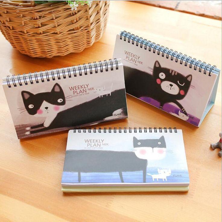 """Lazy Cat"" 1pc Weekly Planner Cute Pocket Notebook Study School Agenda Scheduler #Unbranded"
