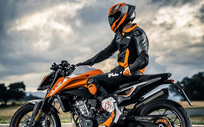 Herunterladen hintergrundbild 4k, ktm 790 herzog, rider, 2019 fahrräder, sportsbikes, superbikes, ktm