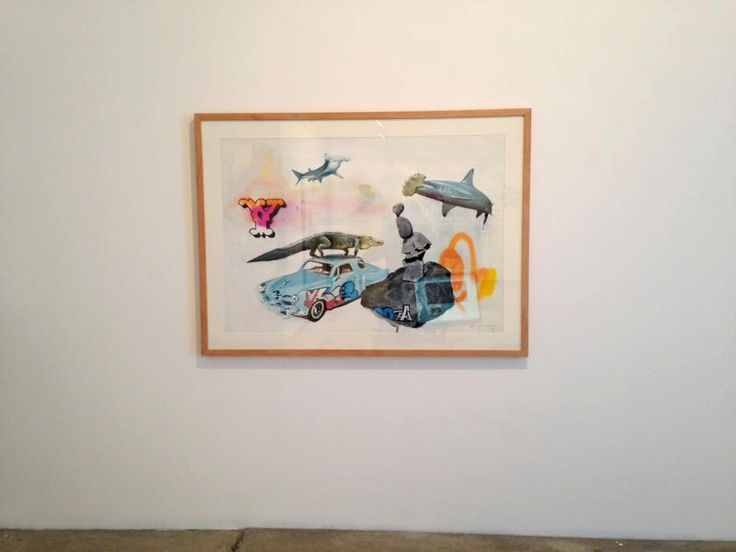 the hammer the shark and the crock Acrylic, spray and black marker pen on paper  70x100cm, 2015 David Rosado