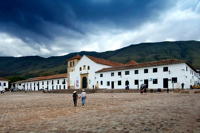 Colombia, Villa de Leyva, Plaza Mayor, Andes Mountains Town, Spanish Colonial, Declared A National Monument In 1954, Iglesia Parroquial Fron...