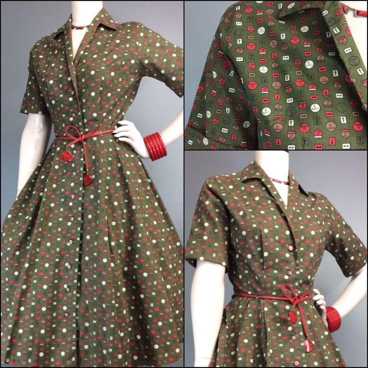 Vtg Novelty Print Cotton Pleated Shirt Dress Highway Signs Atomic MCM 50s 60s  #noveltyprint #Midcentury PerfectionSuperbPrint #highwaysign #50sfashion #cotton