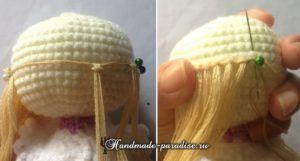 Как сделать волосы куколке амигуруми (9)