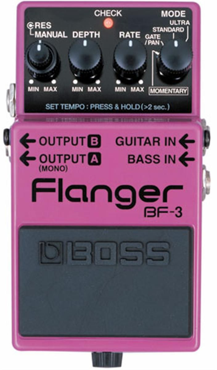 Boss BF-3 Flanger Pedal. For something so small, the BF-3 is surprisingly versatile, featuring stereo outputs, a dedicated bass input and there's even a nifty tap tempo feature.  For a Guide to Flanger Pedals see http://www.guitarsite.com/flanger-pedal/