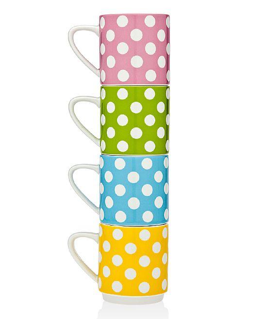 Daily Dots Stackable Porcelain Mug - Set of Four