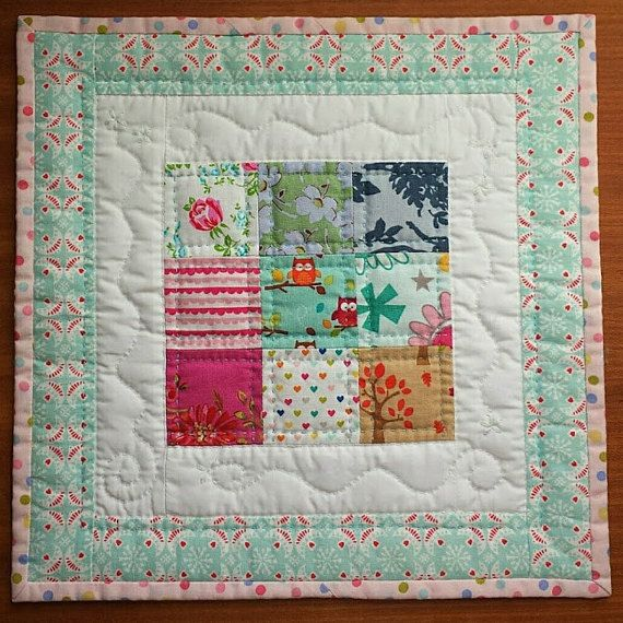 Mini Quilt Table Mat Centrepiece Pink and Blue