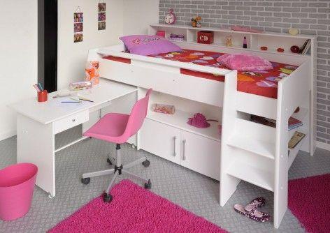 swan 1 midsleeper bed pink open desk cabin