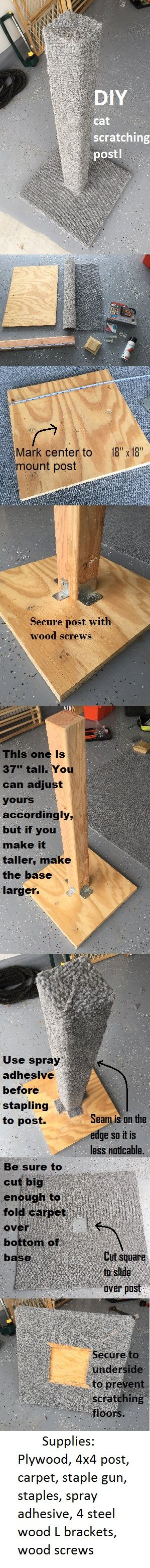 ♥ DIY Cat Stuff ♥  DIY cat scratching post! I decided to make this scratching post because it is impossible to find one that is actually tall enough to make my cat want to scratch it. I hope the pictures are enough detail for you to get the job done. Feel free to ask if you have any questions!