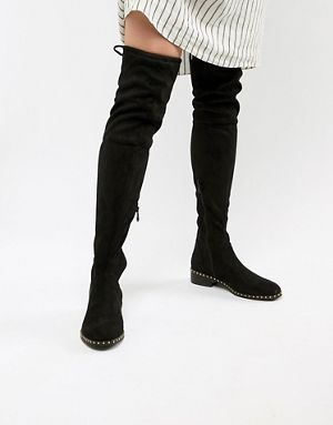 34ec60a89ae RAID Studded Flat Over The Knee Boots