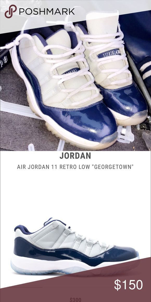 Jordan 11 low Georgetown Very clean shoes, just have yellowed soles. 10/10 condition Jordan Shoes Athletic Shoes