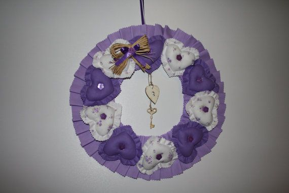 Wreath Encircled with Purple Hearts by ATOLYEVIVIAN on Etsy, $50.00