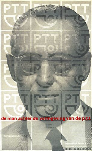 "Netherlands exhibition poster ""The man behind the designing of the post and telegraph graphics"" designed by Peter Brattinga 1960. History Photography and Graphic Design 